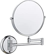 Makeup Mirror 8-inch Two-Sided Swivel Wall Mounted Mirror, Extending Folding Bathroom Shaving Cosmetic Make Up Mirror- 3X/1X Magnification with Drilling or Without drilling