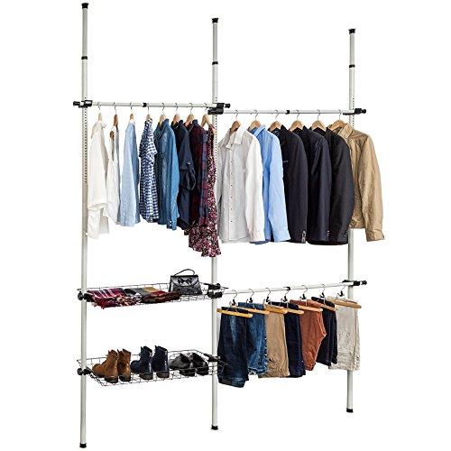 TecTake Sistema de perchero extensible con 3 barras longitudinales variables y 2 cestas de almacenamiento | Ancho: 150-210 cm | Alto: 160-320 cm | Fondo: 38 cm