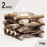Gadgy Set Porta Candela Driftwood con tazza di vetro in stile rustico | Portacandele da tavolo | lanterne decorativa