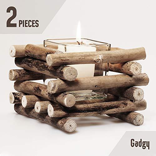 Gadgy Set von 2 Teelichthalter | Windlicht Treibholz deko mit Glasbecher im rustikalen Stil | Kerzenständer Holz