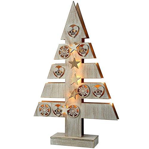 Árbol de Navidad de Madera con Estrellas, Corazones e iluminación de WeRChristmas-decoración de Mesa, 47cm, Blanco