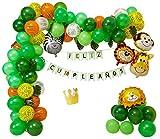 LaulaStyle Decoración Infantil con Globos Feliz cumpleaños en español Kit de Fiesta Selva Safari para niños y Bebes
