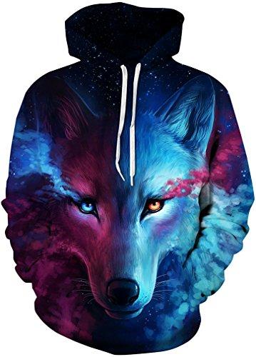FLYCHEN Boys Fashion Print Hoodies Drawstring Pockets Unisex Teens Hooded Sweatshirt S/M Leader Wolf