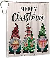 メリークリスマスシャワーカーテン、バスルームカーテン装飾用ポリエステル防水ファブリックバスタブセットフック付き60 X72インチ-アイロン-ワンサイズ