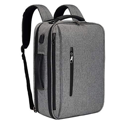 SLOTRA Laptop Aktentasche Rucksack 15,6 Zoll Multifunktional Business Rucksack mit USB Ladeanschluss Laptop Messenger Tasche Umhängetasche Rucksack Schultertasche für Arbeit College Herren Damen Grau