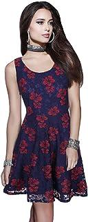 女性の服装 ファッション ドレス ラウンドネックノースリーブ 大きな振り子 レース ドレス (サイズ さいず : S s)
