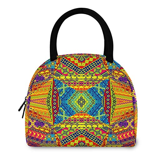 ZzWwR Vintage African Motifs Reusable Lunch Tote Bag with Front Pocket Zipper Closure Insulated Thermal Cooler Container Bag for Man Women Work Picnic Travel Beach Fishing