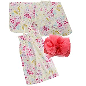 [キャサリンコテージ] 花火大会 夏祭り夏休み セパレートタイプ 2部式浴衣 女の子 WB002 XS(90-100cm) 紫陽花と蝶[J] TAK