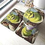 Sh-rek Comfort Collections - Juego de alfombrillas de baño con pedestal, alfombra de baño suave, antideslizante, alfombrilla de baño de chocolate