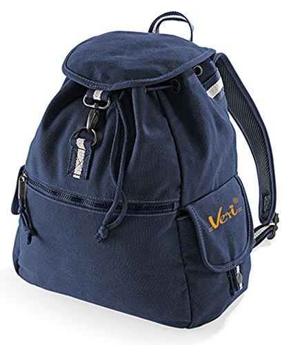Quadra Vintage Freizeit Rucksack Damen und Herren : Canvas Backback Coole Retro Schultertasche mit Veri ® Logo Farbe: navy-blau