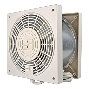 Suncourt TW408 ThruWall 2 Speed Room to Room Wall Mounted Air Flow Transfer Fan with 10 Foot Power Cord and Installation Kit Whtie