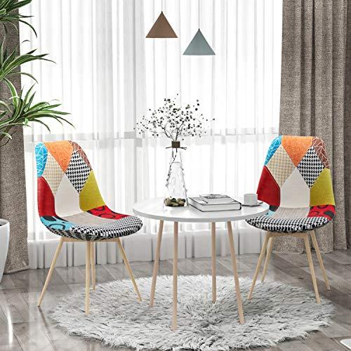 VADIM Stuhl Esszimmerstuhl Patchwork Wohnzimmerstühle Mehrfarbige Stühle mit Rückenlehne Leinen Stoff Metallbeine, 2 Stück, Bunt (Skandinavische bunt Stühle 2er Set