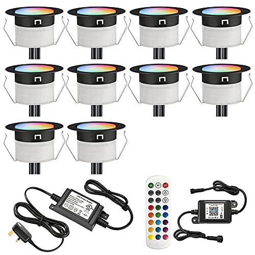 GEYUEYA Home Ø45MM 12V RGBW RGB/blanco cálido Cambio de colores impermeable IP67 LED luces de cubierta para patio pasos, decoración de jardín con 24 llaves mando a distancia-10 paquetes