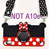 Galaxy A10 Case Lanyard, Galaxy M10 Case Cute Minnie 3D Camera with Rotating Ring Grip Holder Kickstand Teens Girls Women Kids Soft Silicone Rubber Cover for Samsung Galaxy A10 SM-A105-6.2' (A10)