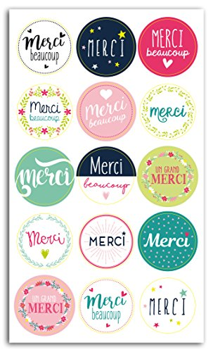 Toga sty032 15 Stickers Thank You Gift Wrap Papier 3x3x0.1 cm Meerkleurig