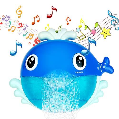 MOOKLIN ROAM Giocattoli da Bagno a Forma di Balena, Macchina a Bolle di Sapone con 12 Musica e Bolla Automatica, per Vasca da Bagno Bambini Tempo di Divertimento