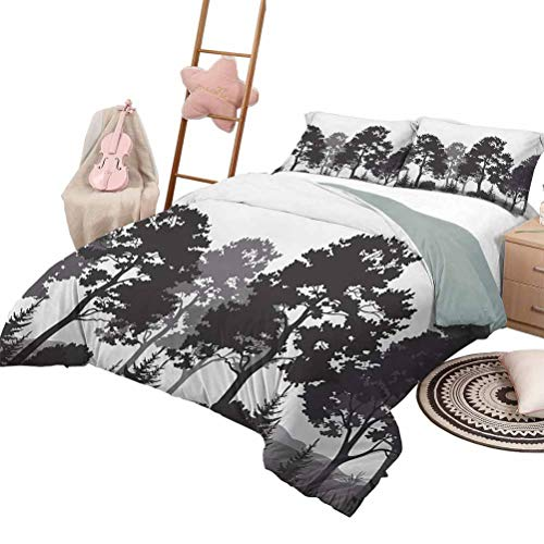 Daybed Quilt Set Black and White Soft Lightweight Coverlet for All Season Summer Forest with Pine and Fir Trees Grass Bush Silhouettes King Size Grey White Charcoal Grey