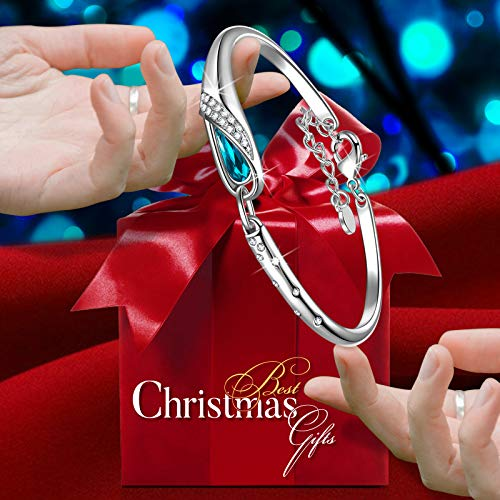 Qianse Christmas Gifts, Thanksgiving Day GiftsGlass Slipper 7″ Bangle Bracelet Made with Blue SWAROVSKI Crystal, Upcoming Black Friday Deals, Women Fashion Jewelry