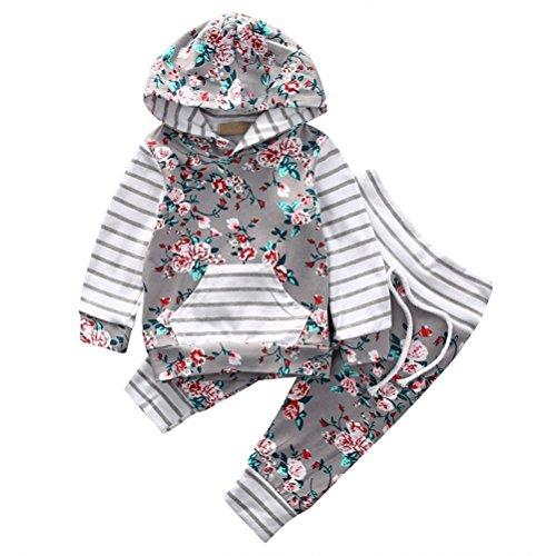 EDOTON Baby Mädchen Outfit 2 Stücke Set Gestreifte Blumen Hoodies mit Tasche Top + Lange Hosen Sweatshirt Outfit Kleidung (6-12 Monate, Grau)