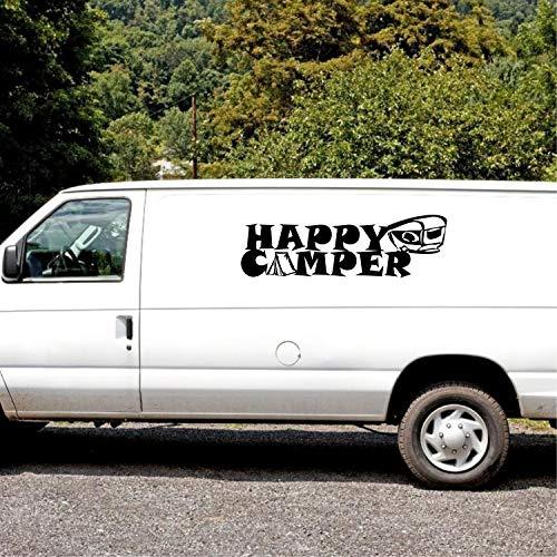 Happy Camper con silueta de caravana pequeña tienda de campaña, aprox. 80 cm, pegatina Womo Camper Caravana