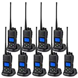 SAMCOM 5 Watts Two Way Radio Long Range Handheld UHF Business 2 Way Radio for Adult Programmable Walkie Talkie with Rechargeable 1500mAh Battery LCD Display Charging Docks Earpieces (9 Packs)