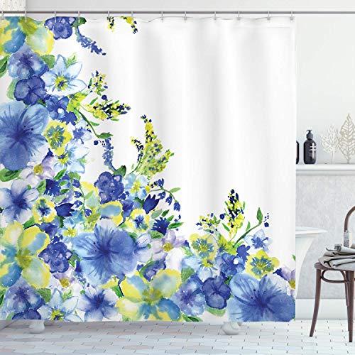 QYGA-3BU Aquarell Blumen Duschvorhang, Bunte Blümchen-Motive mit Splash Anemone Iris Revival von Natur-Thema, Badezimmer Dekor 60 x 72 Zoll gelb