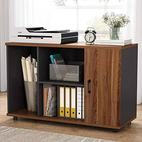 Tribesigns 39 inches File Cabinet, Large Storage Printer Stand, Mobile Filling Office Cabinet with Wheels, Doors and Open Storage Shelves,Dark Walnut