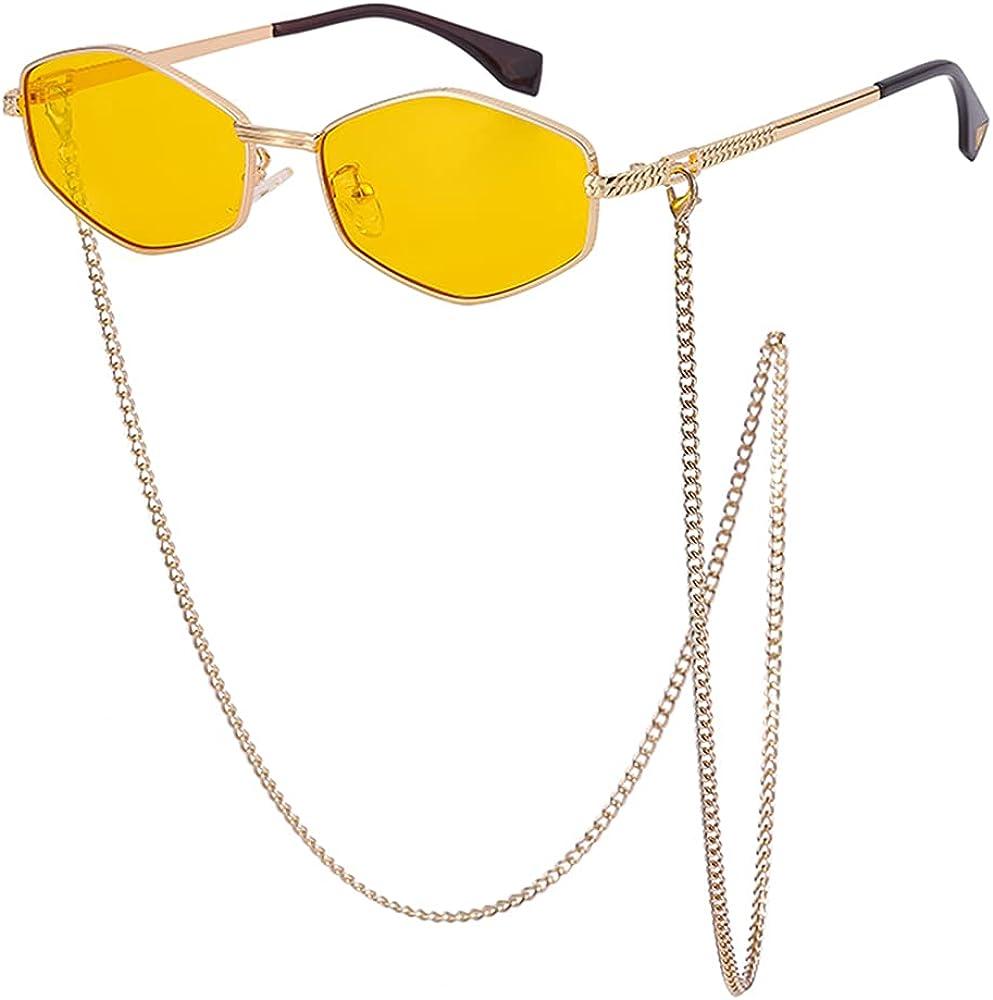 Hexagon Irregular Chain Sunglasses Retro Small Trendy Polygon Glasses