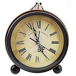 Meyaus 5in Vintage Metal Alarm Clock Silent Non-Ticking Quartz Desk Clock AA Battery Operated