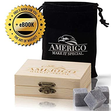 Premium Whiskey Stones Gift Set - Water Down Your Whisky? Never Again! Set of 9 Whiskey Rocks - Ice Cubes Reusable in Exclusive Wooden Gift Set - Whiskey Gifts for Man - Chilling Stones + FREE EBOOK