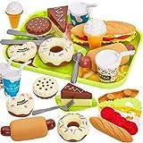 HERSITY Kinder EIS Hamburger Lebensmittel Spielzeug Kinderküche Spielküche Zubehör Küchenspielzeug Rollenspiele Geschenk für Jungen Mädchen