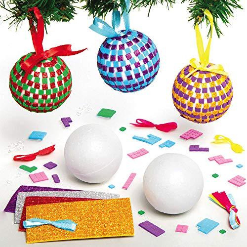 Baker Ross AX529 Kits Bolas De Mosaico - Paquete De 4, Decoraciones De Árboles De Navidad Para Actividades De Manualidades Y Manualidades Para Niños