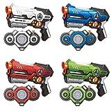 AMOSTING Pistola Láser, 4 Juegos de Laser Tag Infrarroja con Niebla y Chalecos, Juego de Lucha Multijugador Pistola de Juguete de 8 9 10 11 12+ Años Niños, Niñas, Adultos, Interior y Exterior