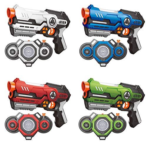 AMOSTING Laser Tag 4 Set Lasertag mit Nebel und Westen, Infrarot Laserpistole für Erwachsene und Kinder, Mehrspieler-Kampfspiel Spielzeug Pistole ab 8 9 10 11 12+ Jahren Jungen Mädchen