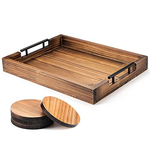 Berry Store Ottoman Tray with Handle for Living Room – Set of 4 Natural Wooden Coasters – Rustic Serving Tray for Coffee Table – Kitchen Tray with Handles – Decorative Breakfast in Bed Tray
