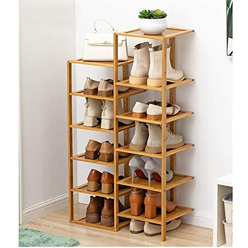 HHTX Zapatero de bambú de Doble hilera de 12 Niveles, Organizador de Almacenamiento de Zapatero apilable, Estante de Almacenamiento de Zapatos Que Ahorra Espacio para Zapatos, Libros, macetas, co
