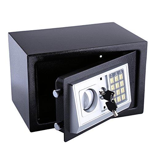 Elektronische veiligheidskast met elektronisch slot en sleutel voor documenten, mappen, zilverkleurig 8.5L