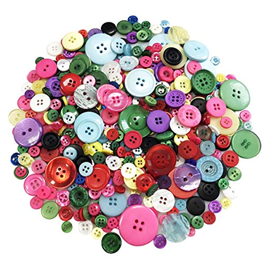Round Resin Button 1000 PCS Craft Buttons Assorted for Painting Plastic Buttons in Different Sizes with 2 or 4 Holes for Sewing (Colors Mixed)