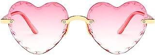 Lunettes de Soleil avec Cadre Coeur Forme Jolies UV400 Protection sans Cadre Transparent Gelée Couleur de Fête Cadeaux Mar...