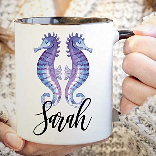 Taza de café personalizada con forma de caballito de mar, novedad, regalo de taza de té para los amantes de los caballitos de mar, taza para amantes del océano, regalo de cumpleaños de Navidad para ho