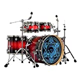 HBIAO 5-Piece Full Size Adult Drum Set Adult Drum Set with Adjustable Throne, Stainless Steel Cymbals, Pedal & 2 Drumsticks,Blue