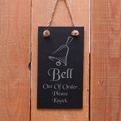 """VinMea Slate Hanging Door Sign Bell Out of Order Please Knock A Great Gift Wooden Hanging Sign 5"""" X 10"""""""