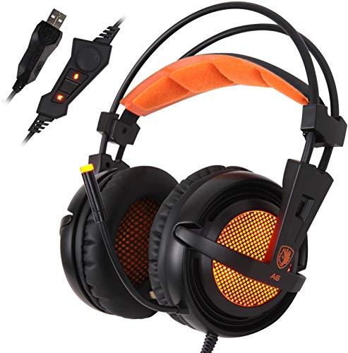 YHLZ Casque de Jeu, 7.1 Surround Gaming PC Casque Audio Casque avec Haute Bandeau sensibilité du Microphone USB Plug Over-The-Ear Volume Contrôle de la Respiration lumières LED (Color : Black)