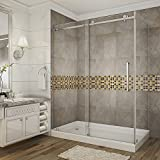 Aston Moselle 60' x 35' x 77.5' Completely Frameless Sliding Shower Door Enclosure with Left Drain Base, Polished Chrome