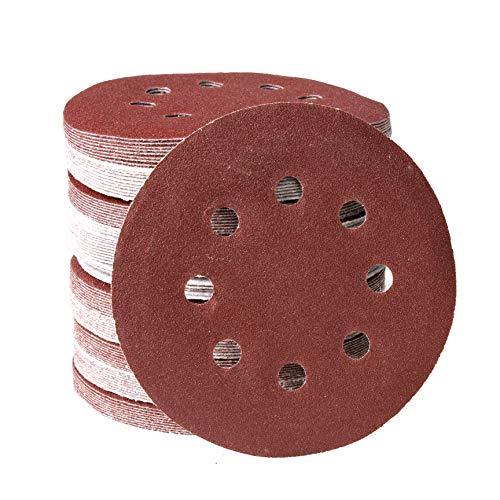 CCLIFE 100tlg Schleifscheiben ø125mm Set Klett-Schleifpapier Schleifer 8 Löcher P80/P120, Farbe:P80