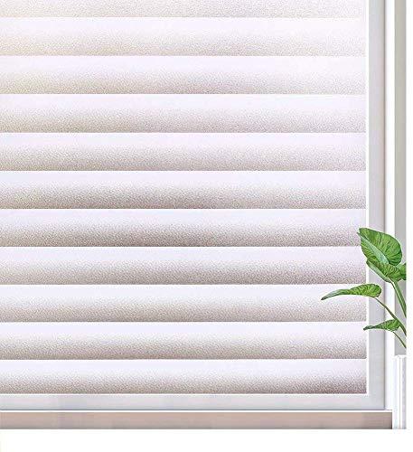 rabbitgoo blickdichte Fensterfolie Sichtschutzfolie Fenster Milchglasfolie Selbstklebend Folie Klebefolie für Bad Duschwand Streifen Jalousette 90 x 200 cm