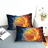 Futtle Basketball Bed Pillowcases 3D Print Soft Decoration Throw Pillow Covers Set Cushion Cases for Bedroom Couch Car,Set of 2(Basketball, 20''×30'')