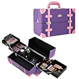 SORISE Makeup Train Case Professional Portable Cosmetic Organizers Storage Case Box With 4 Trays,Pink & Purple