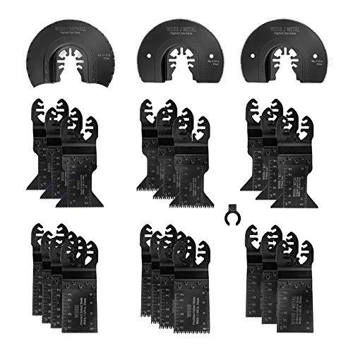 WORKPRO 23-Piece Metal/Wood Oscillating Saw Blades Set for Quick Release Multitool, Blades for Dewalt, Craftsman, Ridgid, Milwaukee, Rockwell, Ryobi and More