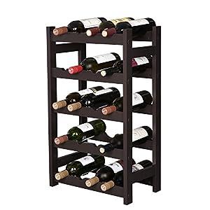 VASAGLE Wood 20 Wine Display Rack, Standing Bottles Storage Shelf,...